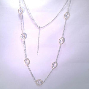"New Product - Silver Tone Chain Gold Oval Clear Cubic Zirconia Stations 36"" - Quantum EMF Protectors"