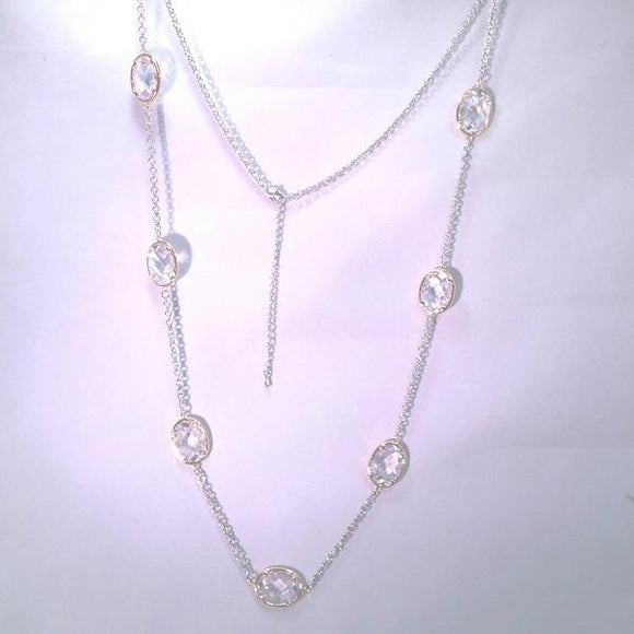 New Product - Silver Tone Chain Gold Oval Clear Cubic Zirconia Stations 36