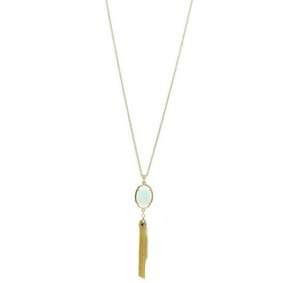 92 Jade Semi-Precious Pendant with Tassel Necklace Length: 30