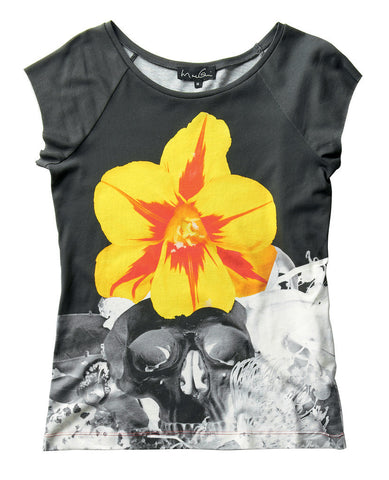 Ladies Yellow Flower & Skull T-shirt