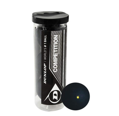 Dunlop Competition Squash Balls - 3 Pack - Yellow Dot