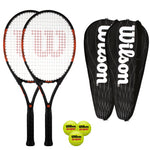 Wilson Burn Pro 105 Tennis Pack - 2 Rackets + 2 Covers + 3 Balls