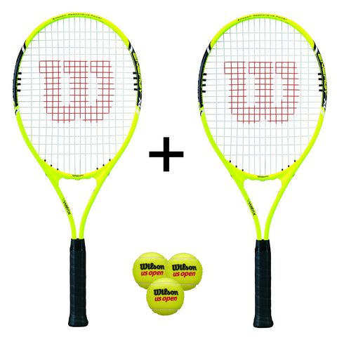 Wilson Energy XL Tennis Racket Twin Pack + Covers + 3 Balls