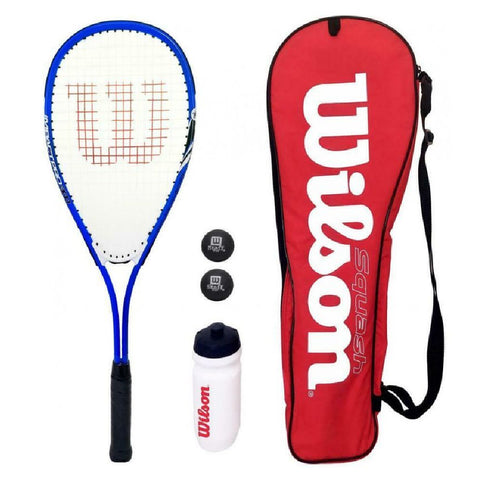 Wilson Squash Starter Kit - Racket + Balls + Waterbottle + Carry Bag