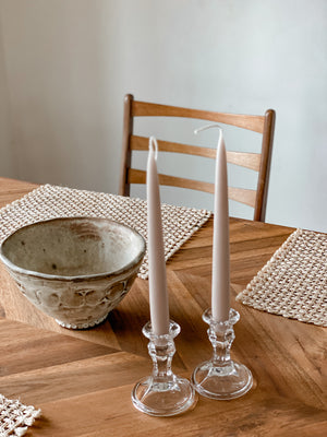 Set of Two Glass Candle Holders