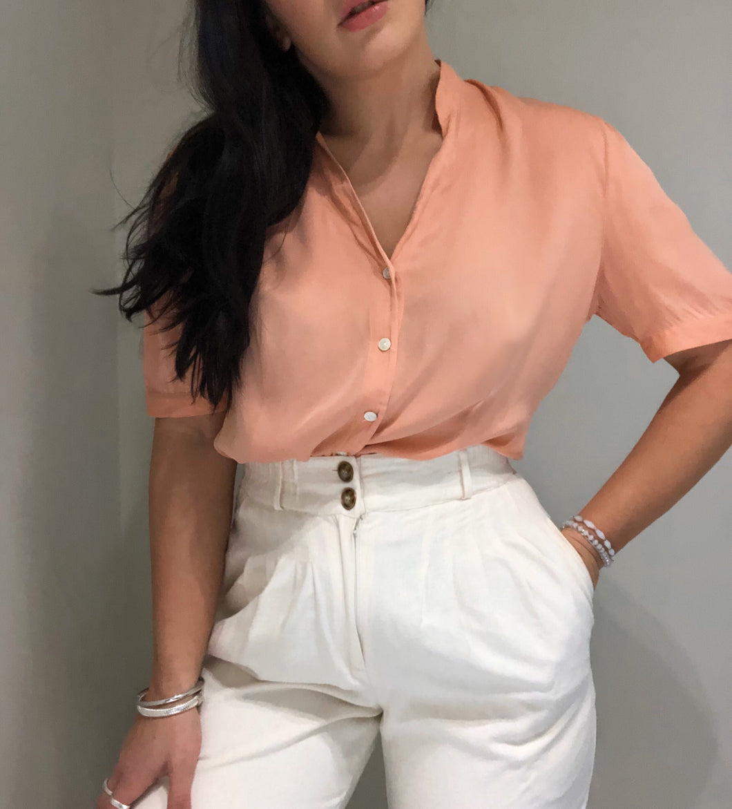 Peach Silk Shirt