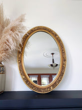Load image into Gallery viewer, Ornate Gold Oval Mirror