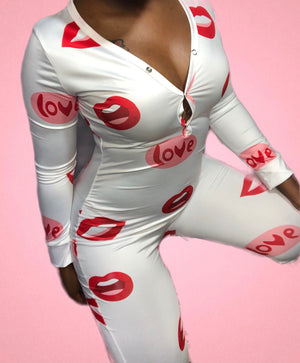 Love Kisses Full Body Onesie W/ Butt Flaps