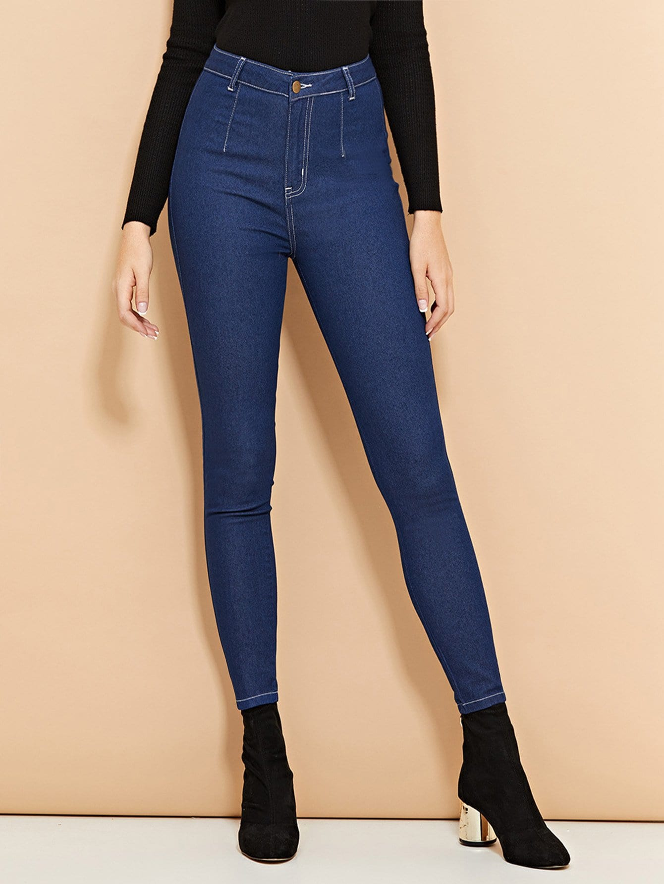 Buttoned Skinny Jeans - hashtag
