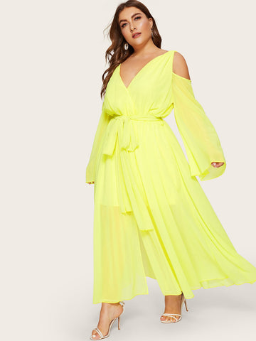Plus Front Belted Neon Yellow Dress