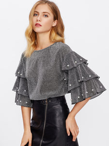 Tiered Sleeve Glitter Top