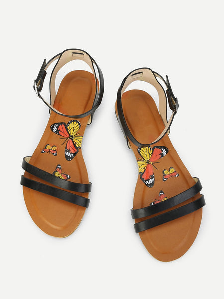 Butterfly Print Flat Sandals - hashtag