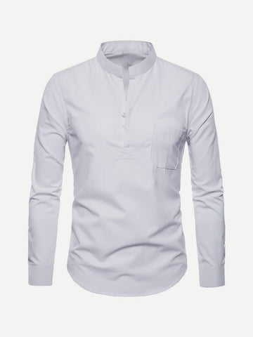 Stand Collar Solid Shirt