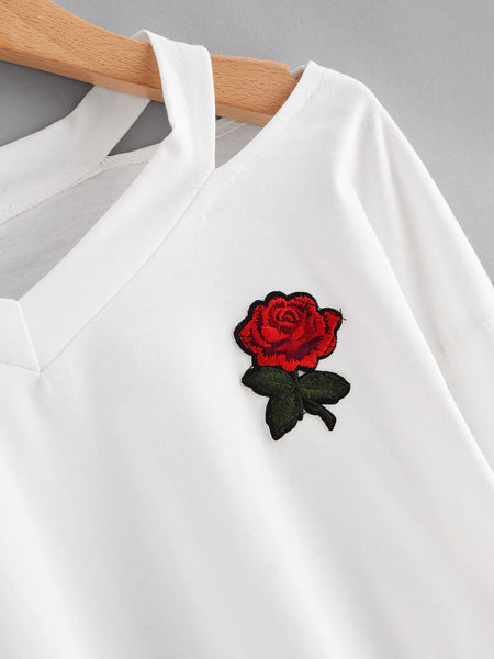 Cut Out Neck Rose Patch Tee - hashtag