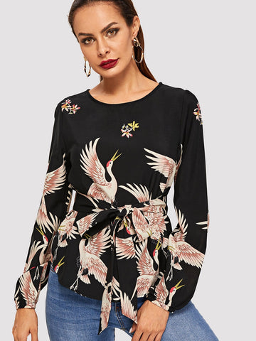 Crane Bird Print Belted Top - hashtag