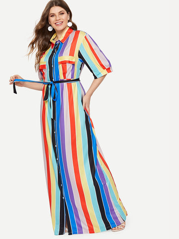 Plus Self-tie Shirt Dress