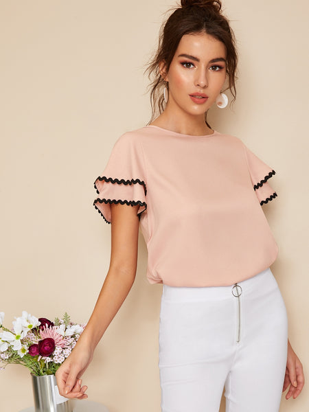 Lace Trim Layered Ruffle Sleeve Top - hashtag