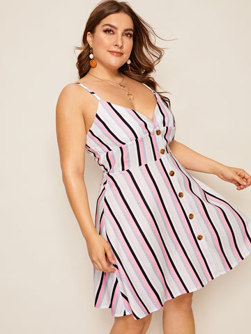 Plus Striped Cami Dress