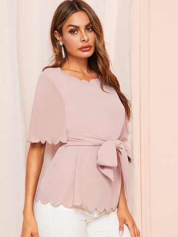 Scallop Trim Belted Blouse