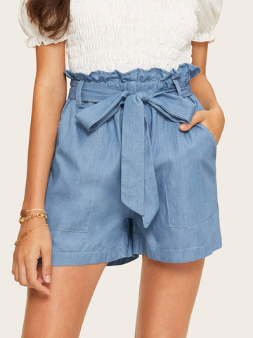 Patched Denim Shorts