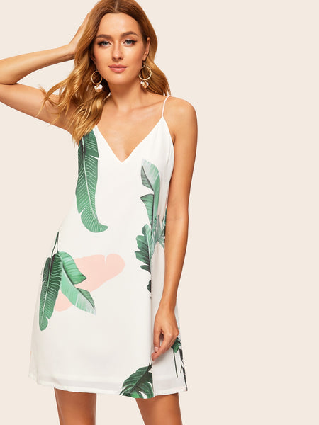 Palm Leaf Print Cami Dress