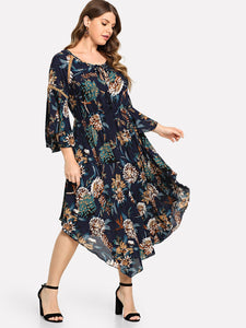 Plus Sleeve Crochet Insert Floral Dress
