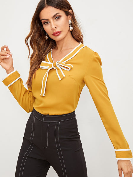 Striped Trim Tie Neck Blouse