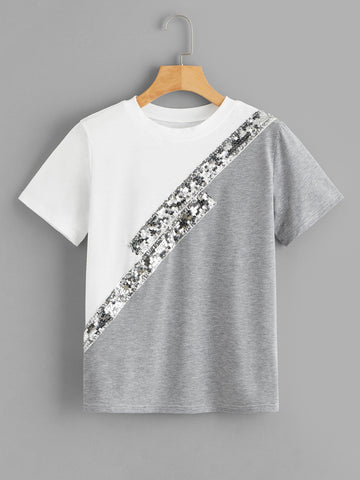 Sequin Panel T-Shirt