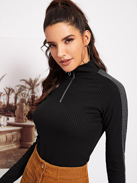 Active Ribbed Knit Tee - hashtag