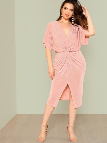 Plus Front Slit Batwing Dress