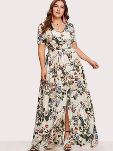 Plus Slit Floral Dress