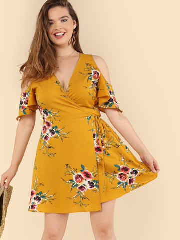 Plus Floral Wrap Dress