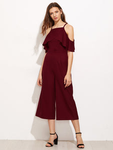 Cold Shoulder Culotte Jumpsuit - hashtag