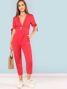 Sleeve Button Waist Jumpsuit