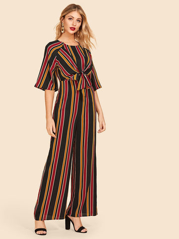 Knot Front Striped Jumpsuit - hashtag