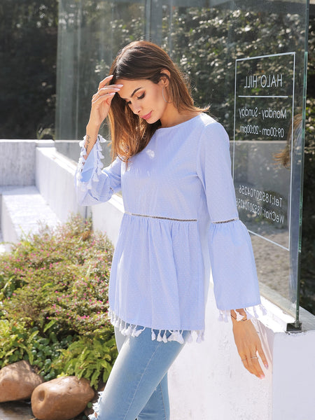 Cut-out Waist Tassel Blouse - hashtag
