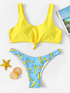 Top With High Leg Banana Bikini Set