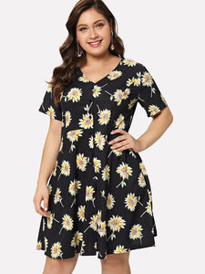 Plus Floral Button Dress