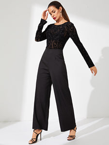 Sheer Lace Bodice Straight Leg Jumpsuit