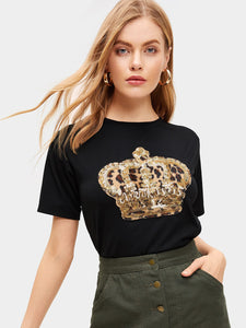 Sequin And Leopard T-shirt