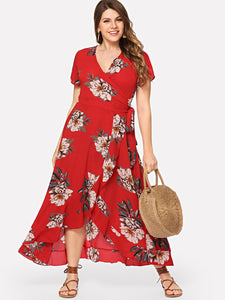 Plus Floral Overlap Ruffle Hem Dress
