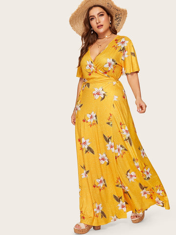Plus Wrap Tie Side Maxi Dress