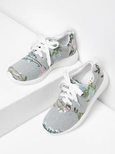Flower Embroidery Lace Up Denim Sneakers - hashtag