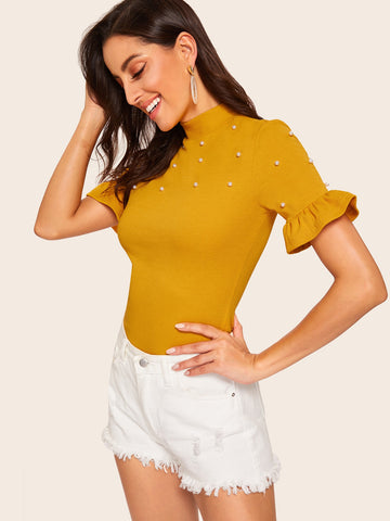 Mock-neck Pearl Beaded Ruffle Cuff Tee