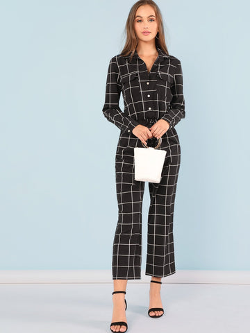 Drawstring Plaid Jumpsuit - hashtag
