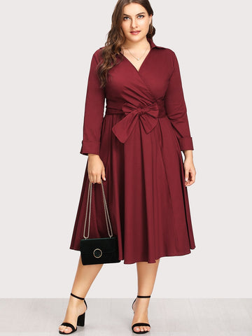 Plus Self Tie Circle Dress