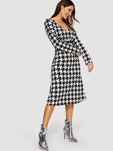 Hounds tooth Print Dress