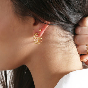 1441 H. Geometric Roshan Hoop Earrings