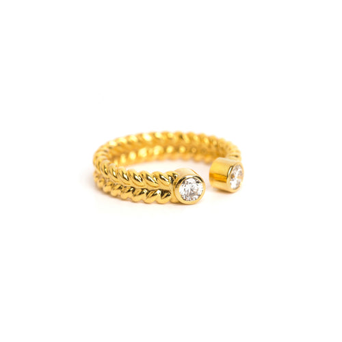 Jadela Yellow Gold Ring with Diamonds