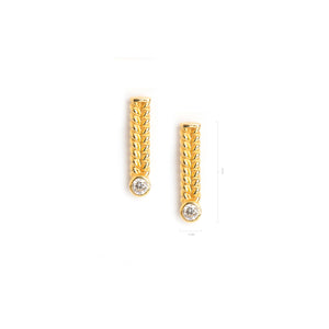 Mini Jadela Yellow Gold Earrings with Diamond